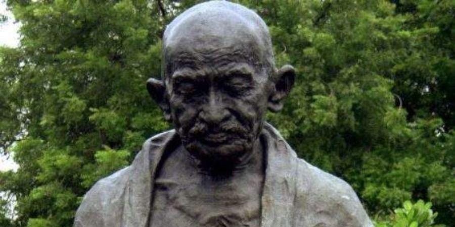 A statue of Mahatma Gandhi.