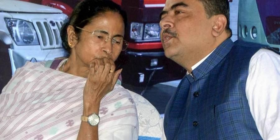 Undated photo of Bengal CM Mamata Banerjee (L) and Suvendu Adhikari (R) (Photo | PTI)