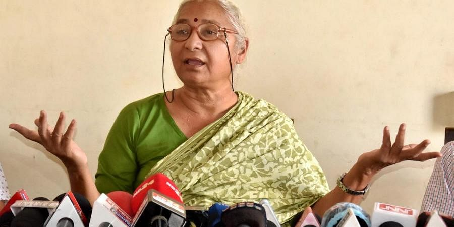 Social activist Medha Patkar addresses media at Krishak Mukti Sangram Samiti Head Office  in Guwahati. (Photo | PTI)