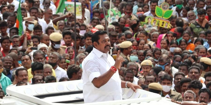 TN Chief Minister Edapadi K Palaniswami addresses a huge crowd as part of his election campaigning for his party candidate, Gopalakrishnan at Othakadai in Madurai on Thursday.