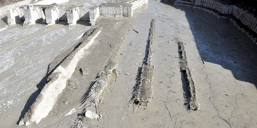 The washed away Tapovan hydel power project plant after Feb. 7 glacier burst in Chamoli district of Uttarakhand