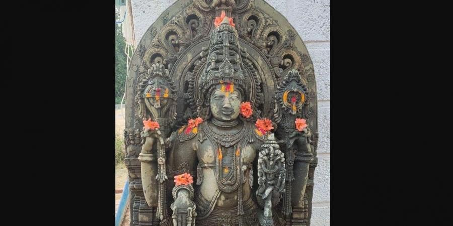 Channakeshava swamy Idol found while sand mining near Halebelur of Sakleshpur taluk.