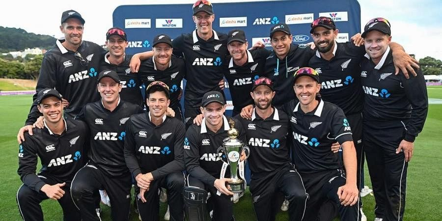 New Zealand cricket team with the trophy after whitewashing Bangladesh 3-0 in the ODI series