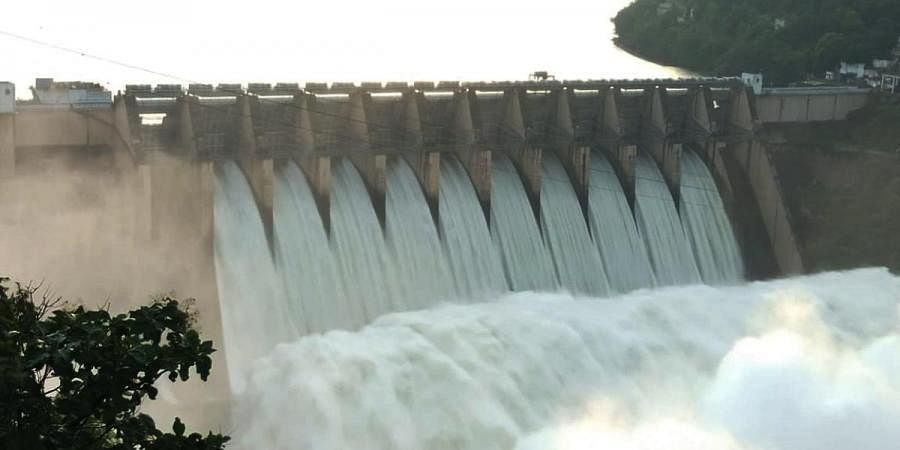With huge inflows into the Srisailam reservoir, officials had to lift ten crest gates and released water to the Nagarjuna Sagar