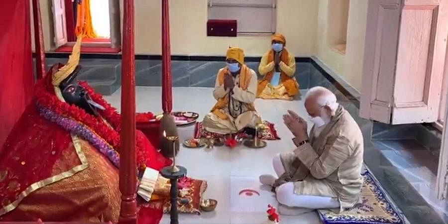 PM Narendra Modi prays at the Jeshoreshwari Kali Temple