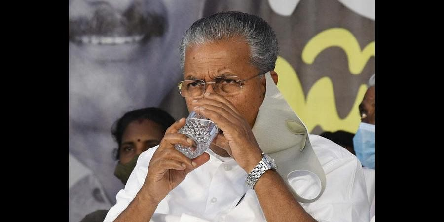 Chief Minister Pinarayi Vijayan at a meeting held as part of the election campaign in Kochi. (Photo | Albin Mathew, EPS)