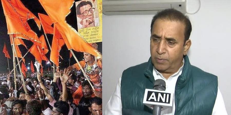 (L) Shiv Sena flags and (R) Maharashtra Home Minister Anil Deshmukh (Photo | ANI)