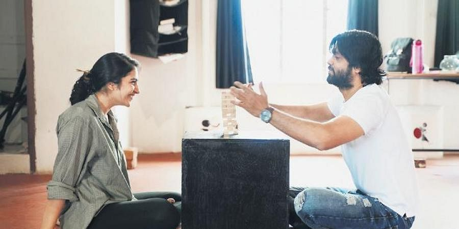 Rakshit Shetty (R) and Rukmini Vasanth in the workshop