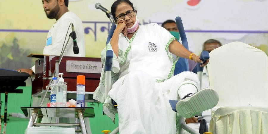 West Bengal Chief Minister Mamata Banerjee addresses during a public meeting, in Nandigram. (Photo  ANI)