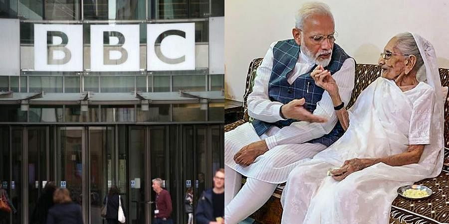 BBC (L) and PM Narendra Modi with his mother Heeraben.