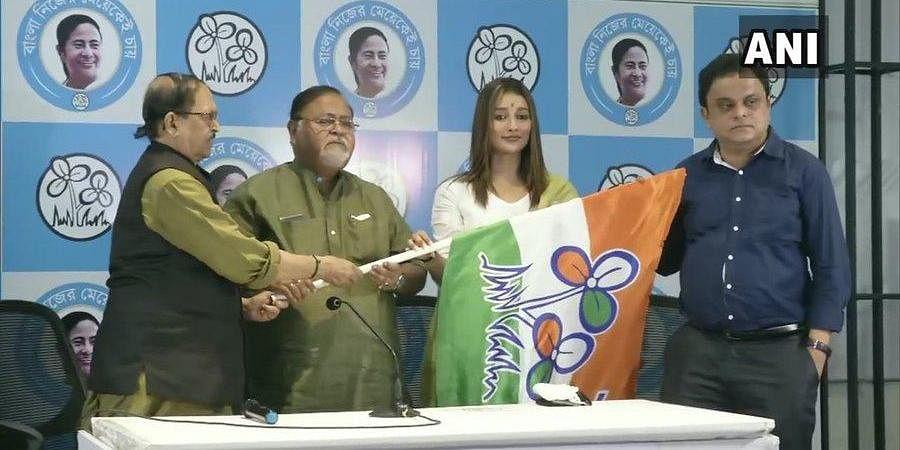 Bengali actress Sayantika Banerjee joins Trinamool Congress, ahead of assembly elections in West Bengal.