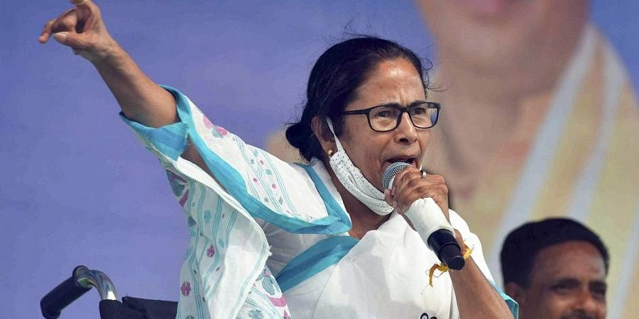 West Bengal Chief Minister Mamata Banerjee addresses a public meeting, in Purba Medinipur. (Photo | PTI)