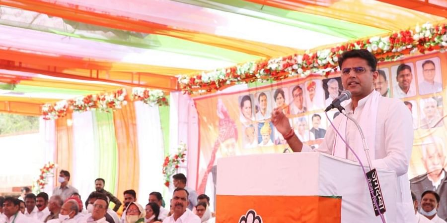 Sachin Pilot addressing a rally to show support for Congress candidates ahead of by-elections in Rajasthan. (Photo | EPS)