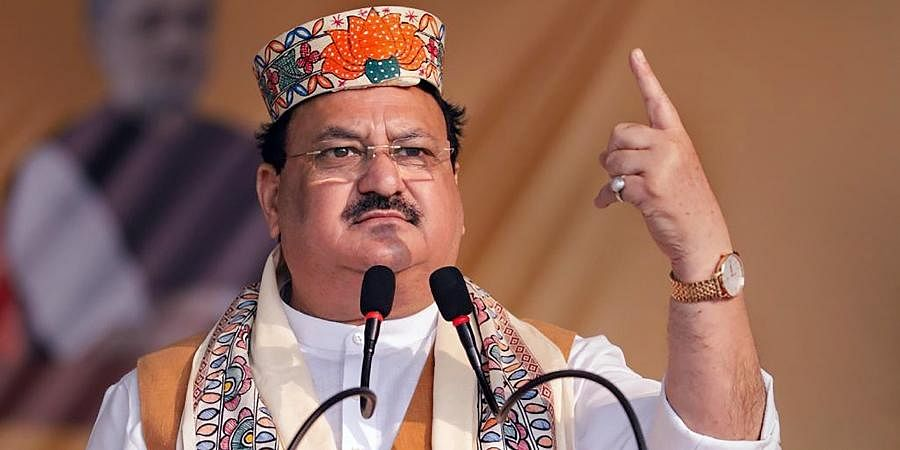BJP chief JP Nadda addresses an election campaign rally at Jalley in Darbhanga.