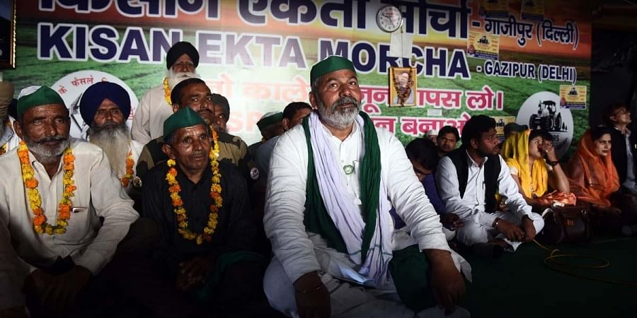 Bharatiya Kisan Union leader Rakesh Tikait during the on going protest demonstration against three Farm Laws at the Ghazipur Border in New Delhi.(Photo | Parveen Negi, EPS)