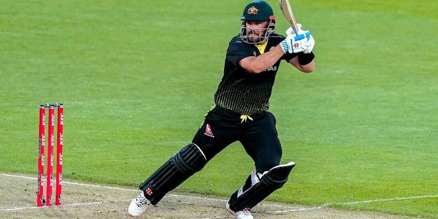 Australia's Aaron Finch bats against New Zealand during their third T20 cricket international at Wellington Regional Stadium in Wellington.