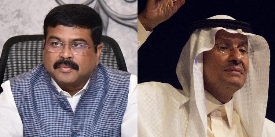 Petroleum minister Dharmendra Pradhan (L) and Saudi energy minister Prince Abdulaziz bin Salman
