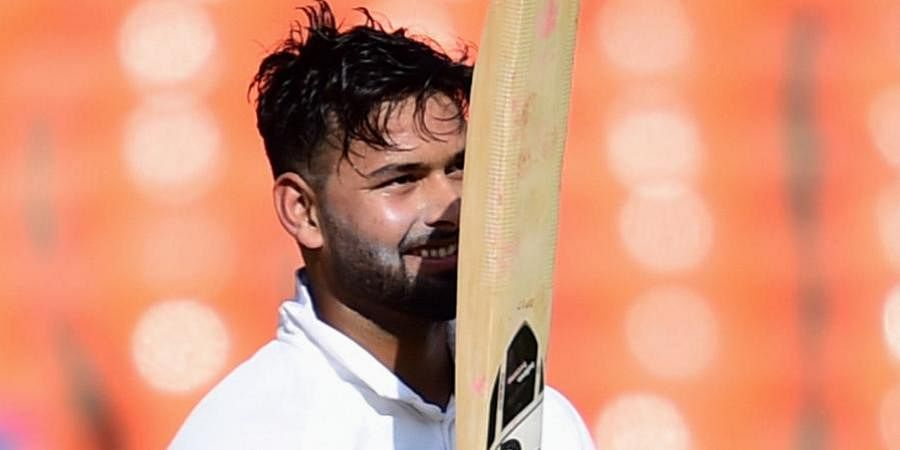 Rishabh Pant celebrates his century during the second day of the fouth Test match between India and England at the Narendra Modi Stadium in Ahmedabad.