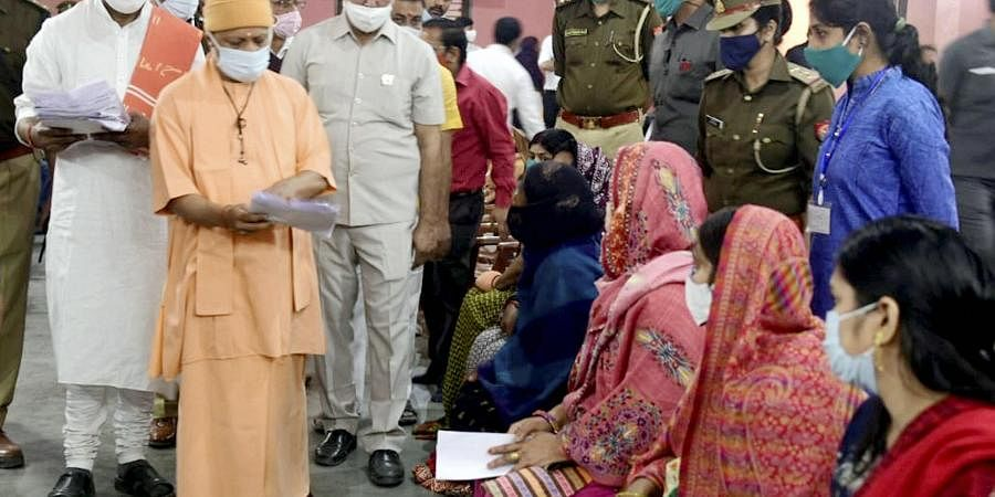 UP CM Yogi Adityanath during 'Janta Darbar' in Gorakhpur.