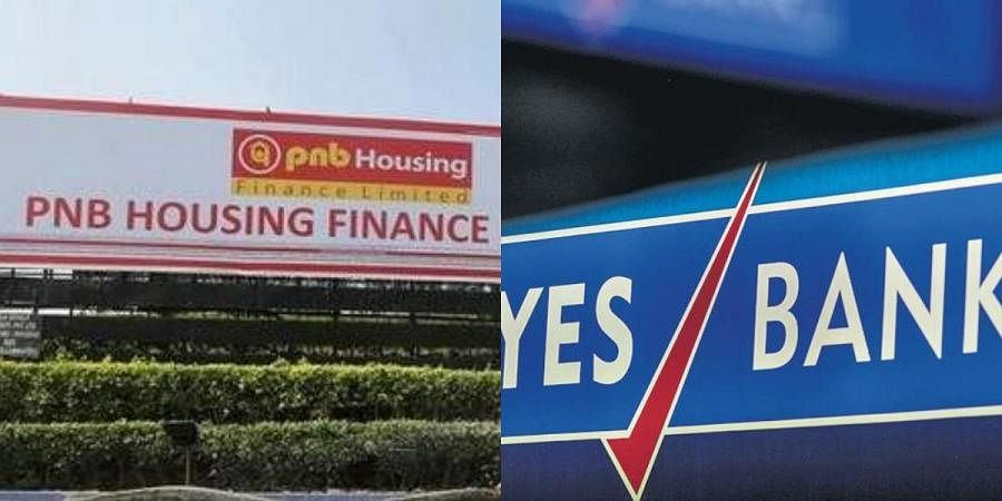 Logos of PNB Housing Finance (L) and Yes Bank
