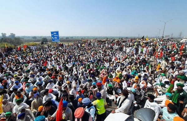 Farmers protesting agri laws block KMP expressway in Haryana
