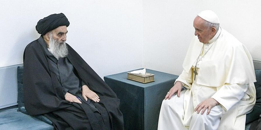 Pope Francis, right, meets with Iraq's leading Shiite cleric, Grand Ayatollah Ali al-Sistani in Najaf, Iraq. (Photo| AP)