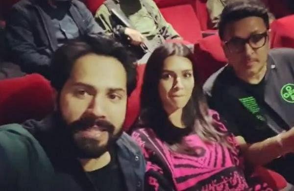 Varun Dhawan, Kriti Sanon catch special screening of 'Roohi' in theatre