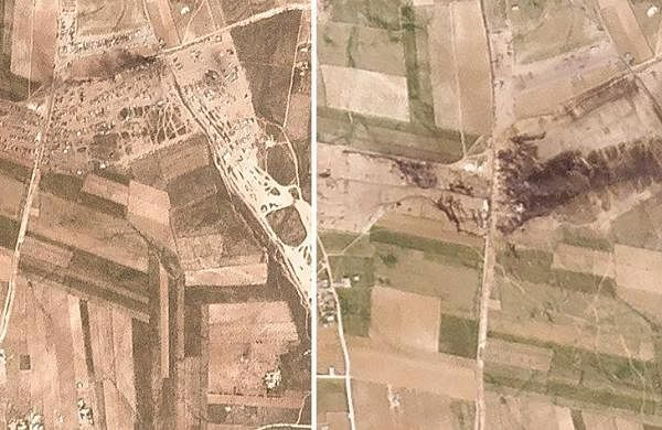 Satellite photos show aftermath of strike in northern Syria