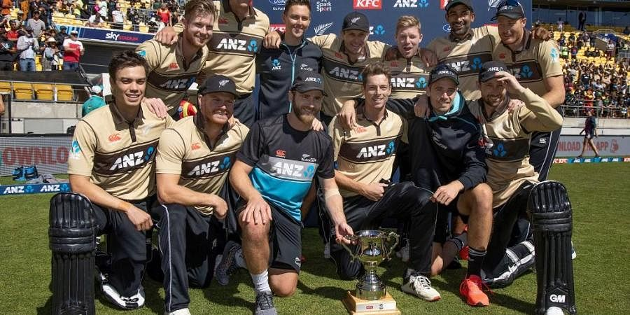 New Zealand players celebrate winning the T20 series against Australia. (Photo   AFP)