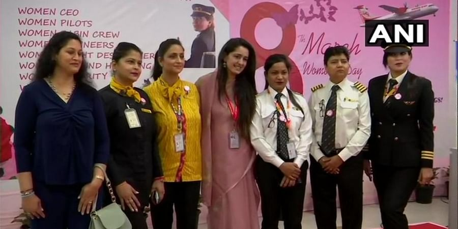 First flight from Bareilly launched with an all-women crew.