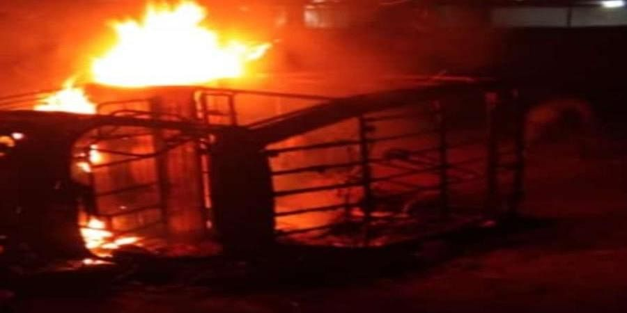 A car set ablaze in Telangana's Nirmal district.
