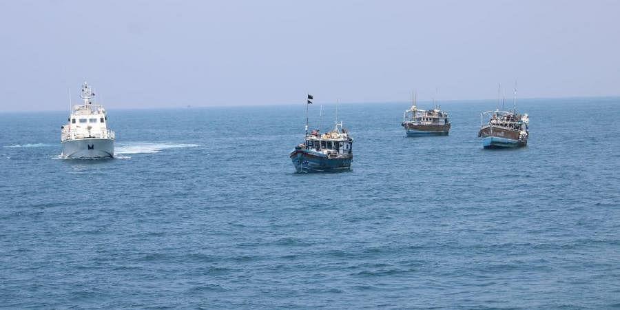 Three Sri Lankan ships intercepted by the Indian Coast Guard.
