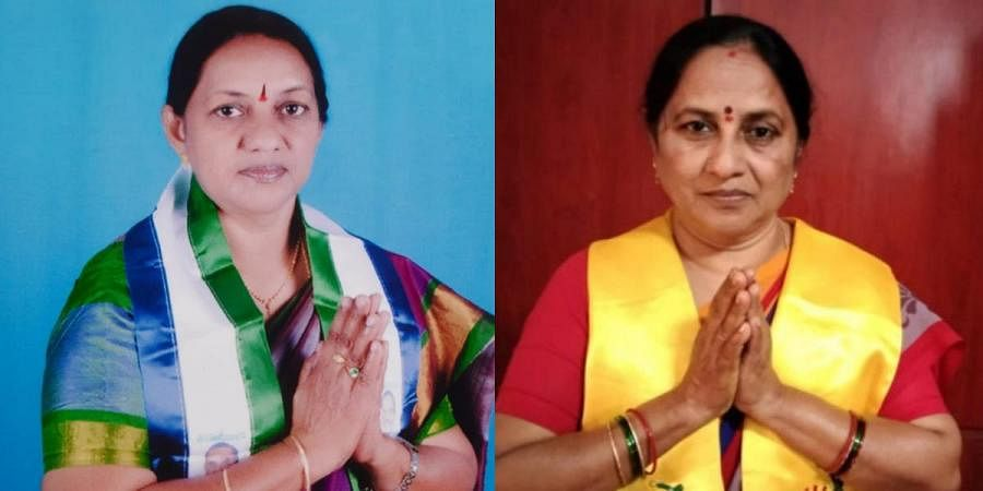 Sisters Tirupathamma (L) and Lakshmi will be contesting against each other