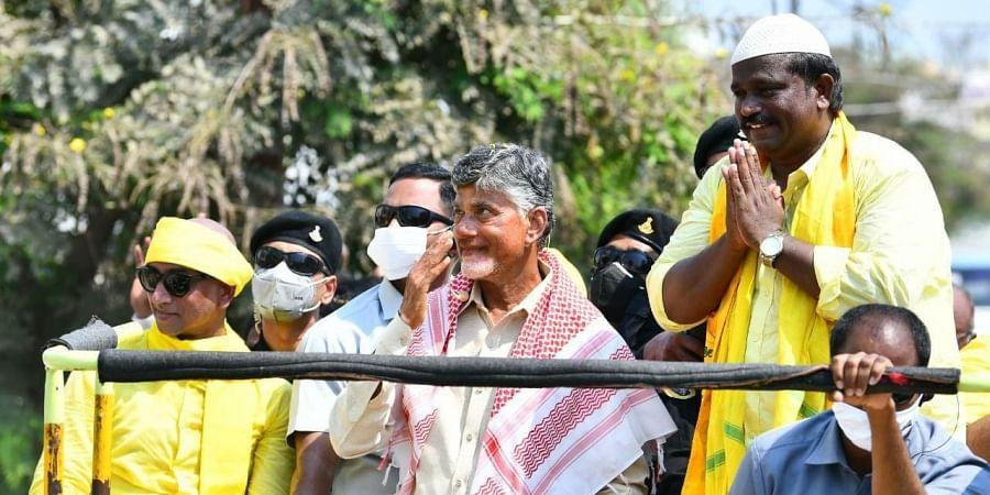TDP supremo Chandrababu Naidu during roadshow for upcoming corporate elections in Guntur. (Photo | Express)