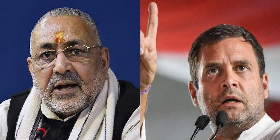 Union minister Giriraj Singh (L) and Rahul Gandhi