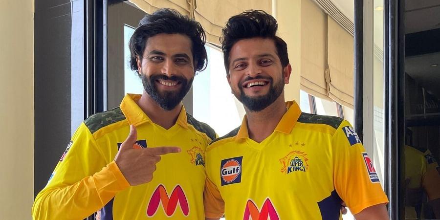 Chennai Super Kings players Ravindra Jadeja with Suresh Raina