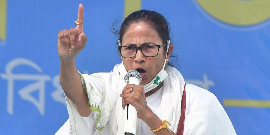West Bengal Chief Minister Mamata Banerjee addresses a public meeting, at Singur in Hooghly district. (Photo | PTI)