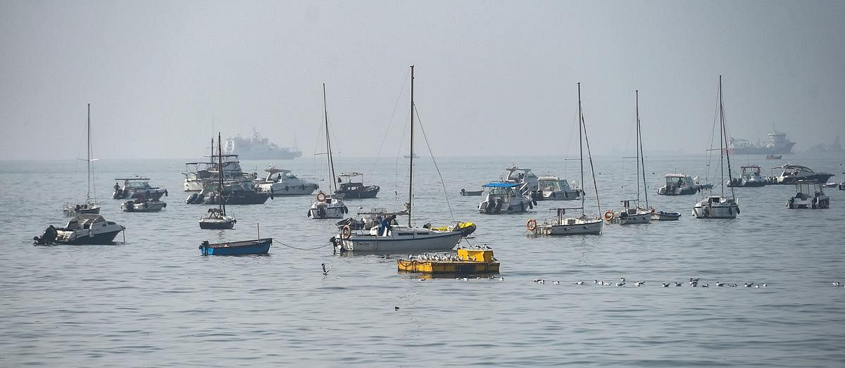 Industries and production sector, will function with Standard Operating Procedures (SoPs), and construction sites will operate if there is an accommodation facility for workers. In picture: Boats anchored near Gateway of India. (Photo | PTI)