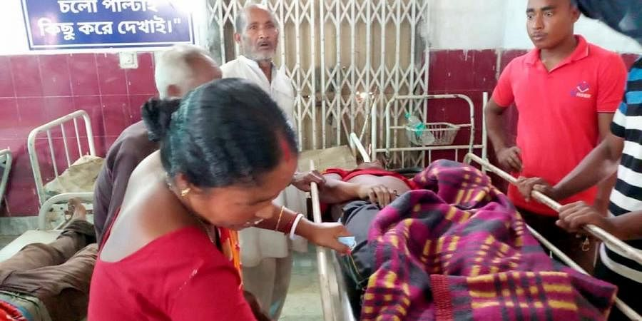 Injured being treated after clashes during the fourth phase of West Bengal Assembly Elections, in Cooch Behar district