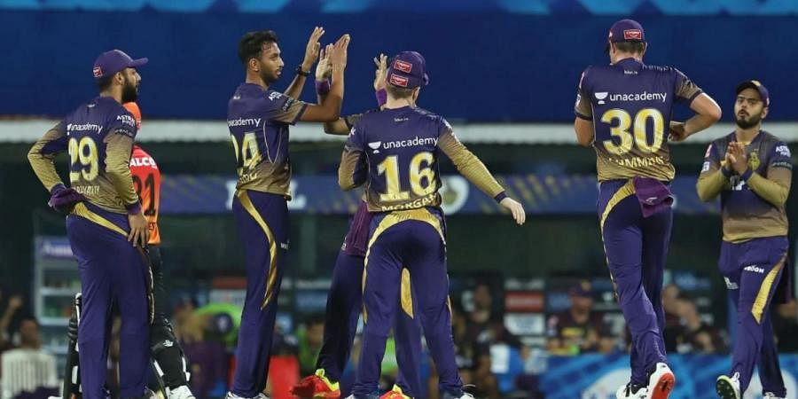 Prasidh Krishna of Kolkata Knight Riders celebrates the wicket of David Warner of Sunrisers Hyderabad during match held at the M. A. Chidambaram Stadium, Chennai on the 11th April 2021.
