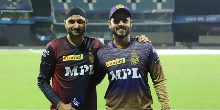 Harbhajan Singh of Kolkata Knight Riders and Nitish Rana of Kolkata Knight Riders. (Photo | IPL)