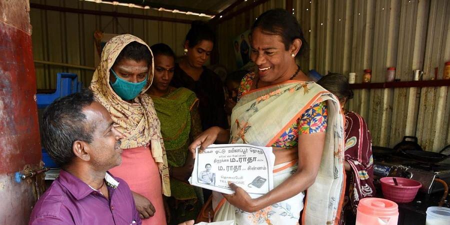 M Radha campaigning in Pattinapakkam. (Photo | Express)