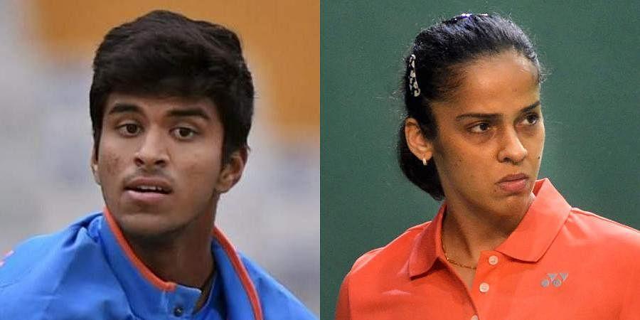 Indian cricketer Washington Sundar (L) and Indian badminton ace Saina Nehwal