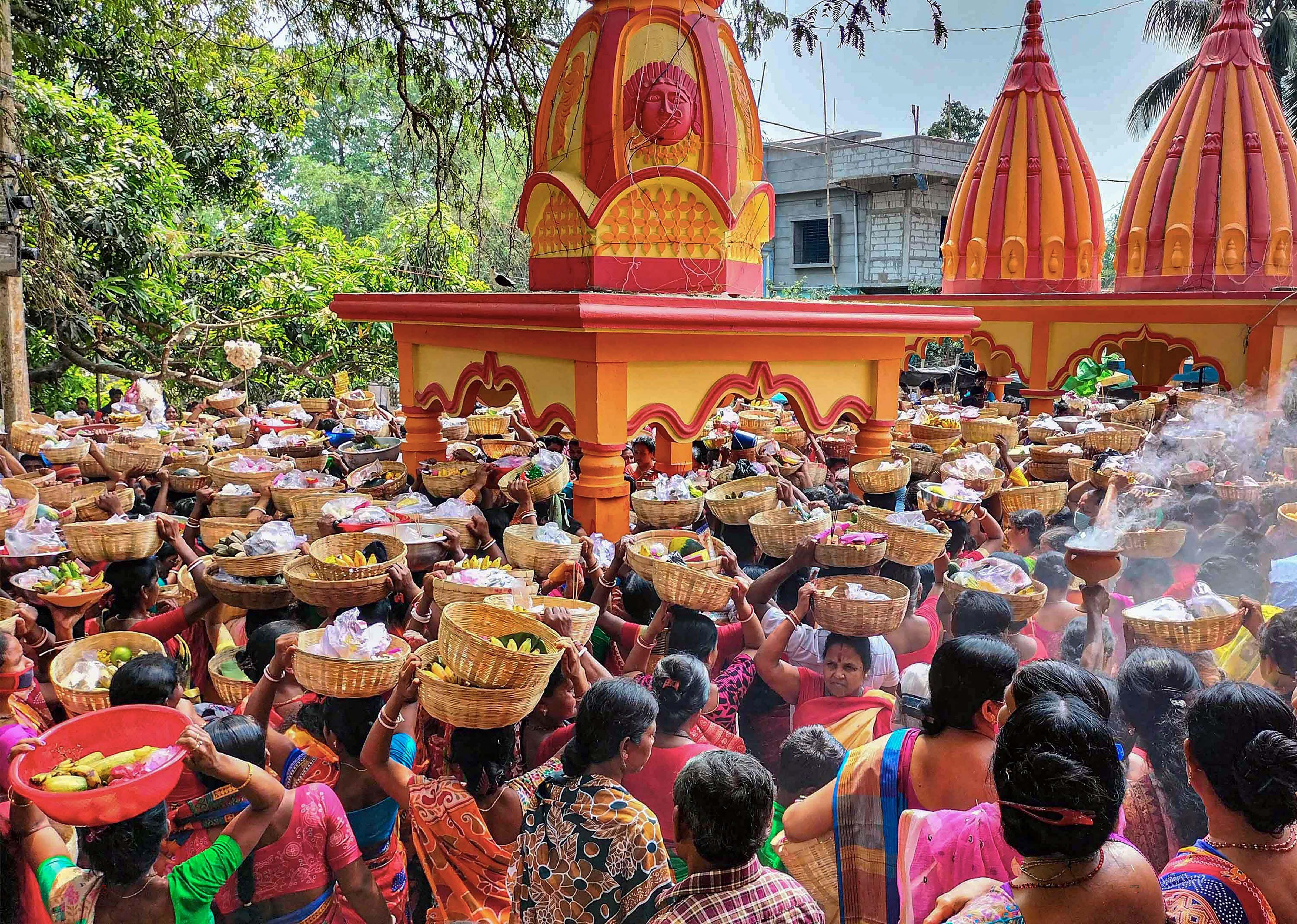Akhada sadhus on their way to take bath at Har Ki Pauri on 3rd Shahi Snan of ongoing Kumbh Mela 2021