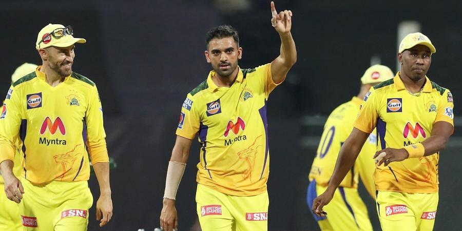 Deepak Chahar of Chennai Super Kings celebrates wicket of Mayank Agarwal of Punjab Kings during match at the Wankhede Stadium Mumbai, Friday, April 16, 2021.
