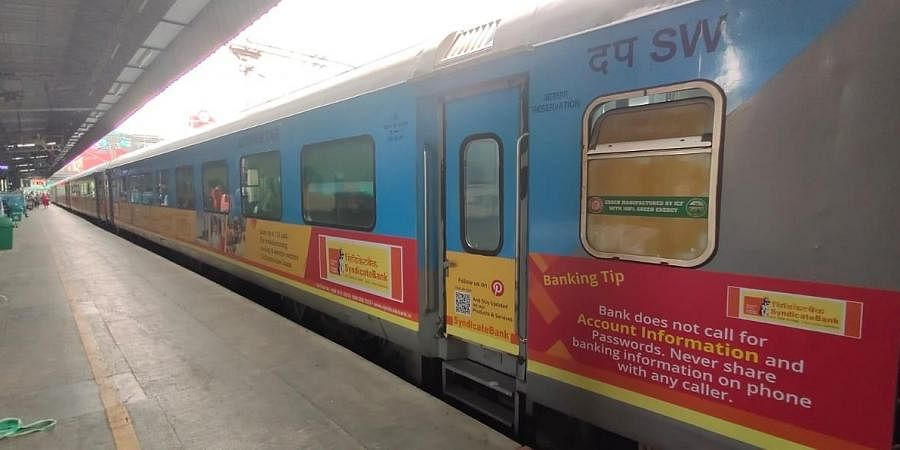 Representative picture of Shatabdi Express between Bengaluru and Chennai in which advertisements have been carried on the exteriors since 2019.