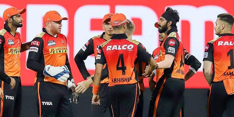 Sunrisers Hyderabad celebrates the wicket of Rohit Sharma during match against Mumbai Indians at the M. A. Chidambaram Stadium in Chennai, Saturday, April 17, 2021.