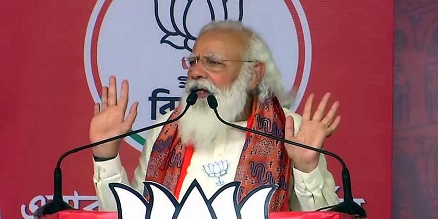 Prime Minister Narendra Modi addresses during an election public rally in West Bengal.