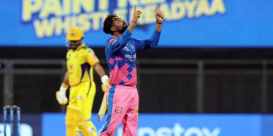Rahul Tewatia of Rajasthan Royals celebrates the wicket of Moeen Ali of Chennai Super Kings during an IPL 2021 match in Mumbai