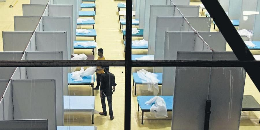 Amid spike in cases, a temporary Covid care centre is being set up at the Commonwealth Games Village in New Delhi.